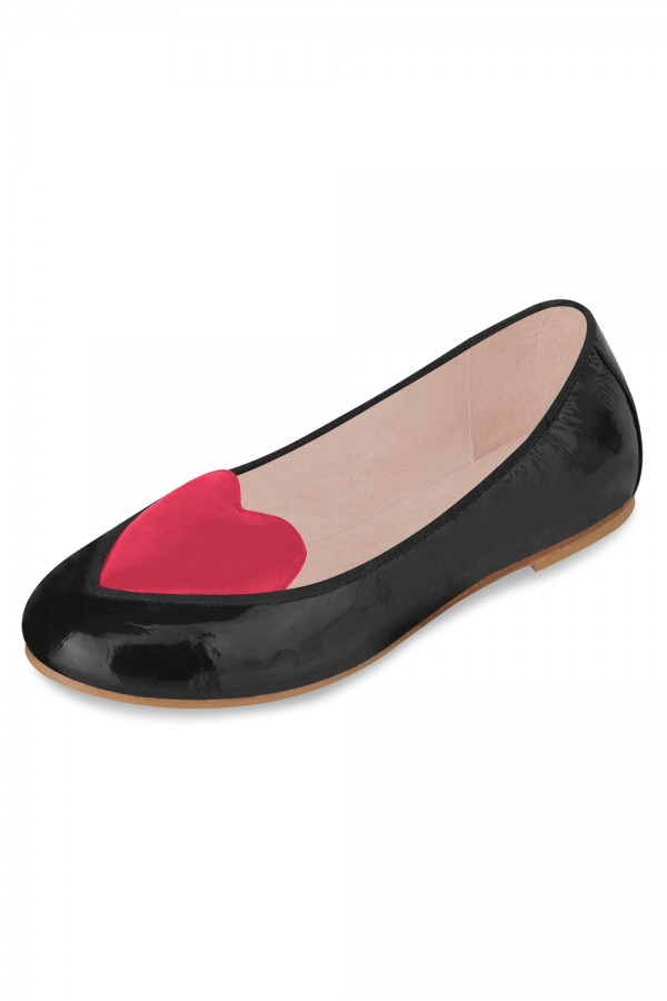 image - Girls Argento Anabelle Love Heart Ballet Flat Shoe Girls Fashion Shoes