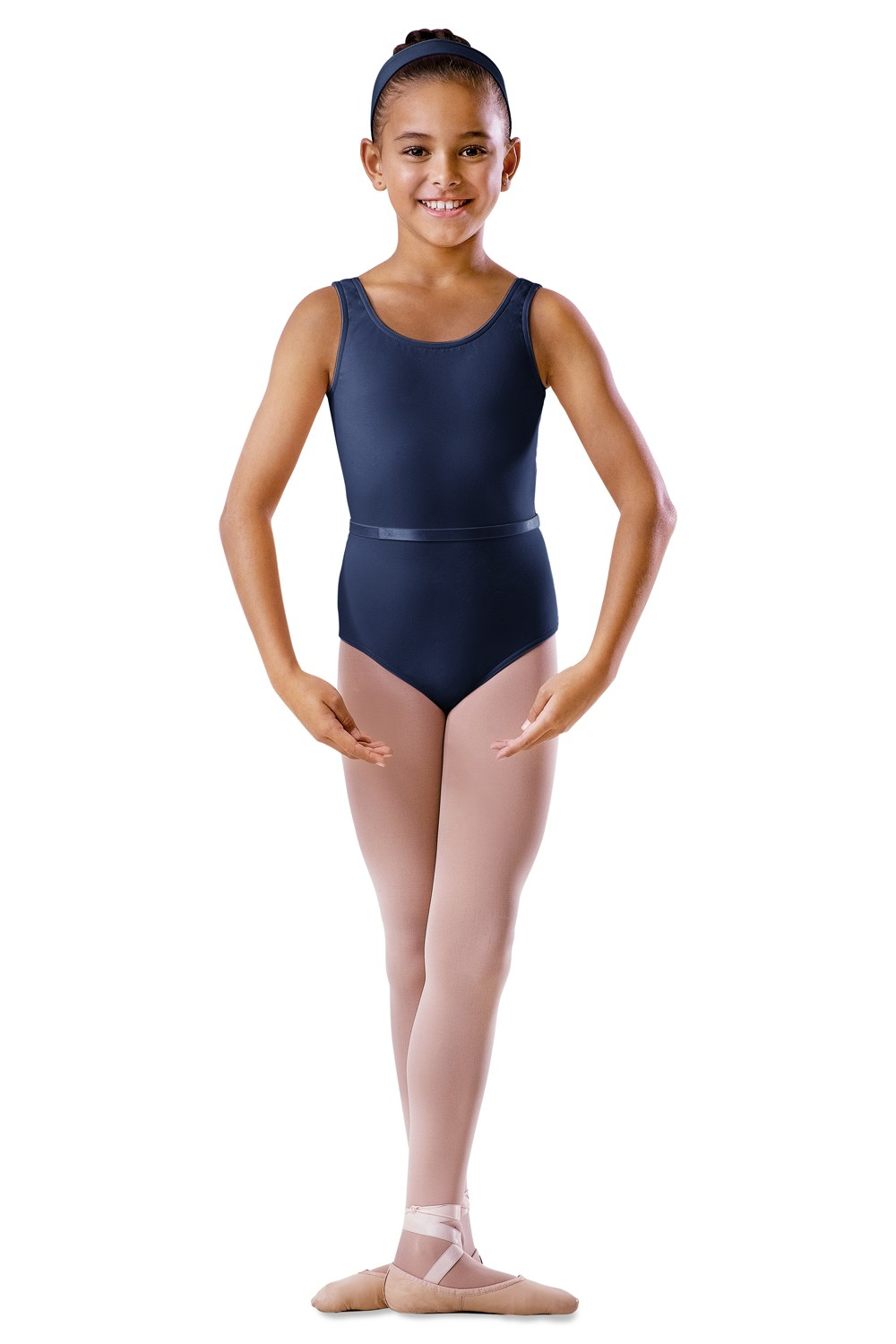 Childrens Round Neck Tank Leotard With Belt Children's Dance Uniforms