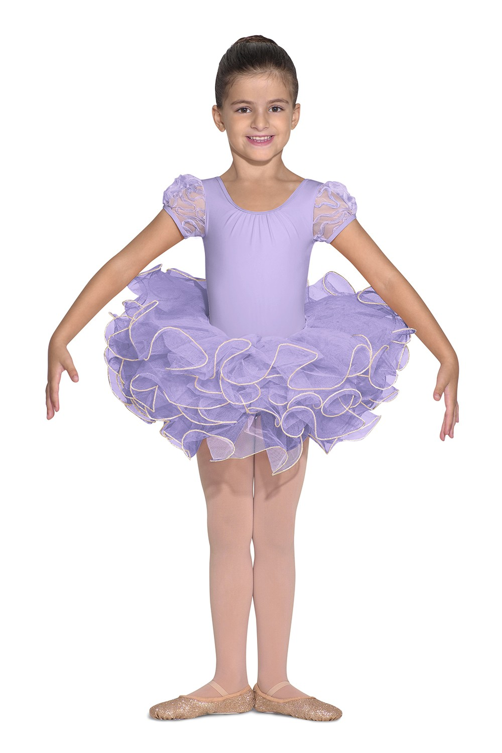 Tulle Puff Sleeve Leotard Children's Dance Leotards