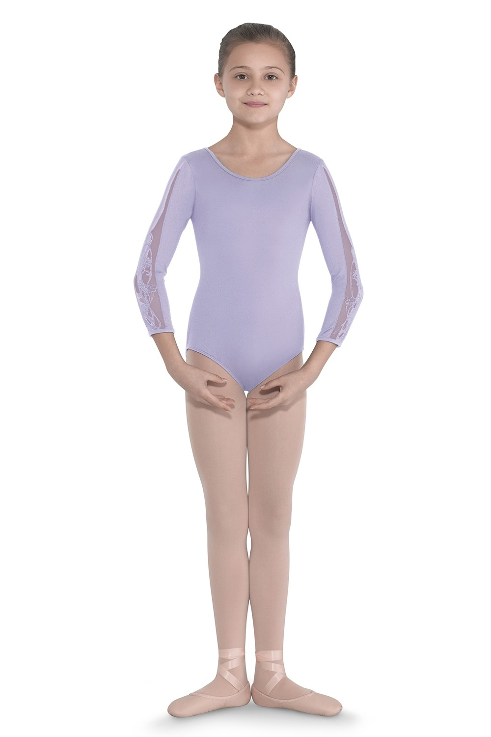 Embroidered Mesh 3/4 Sleeve Leotard Children's Dance Leotards