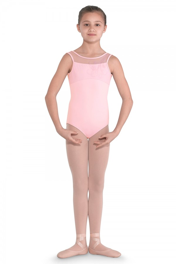 image - Embroidered Mesh Front Tank Leotard Children's Dance Leotards
