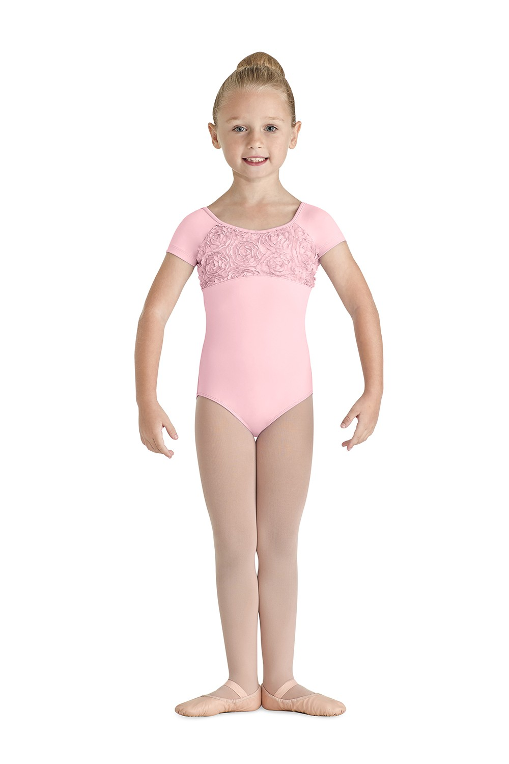 Flower Bust Cap Sleeve Children's Dance Leotards