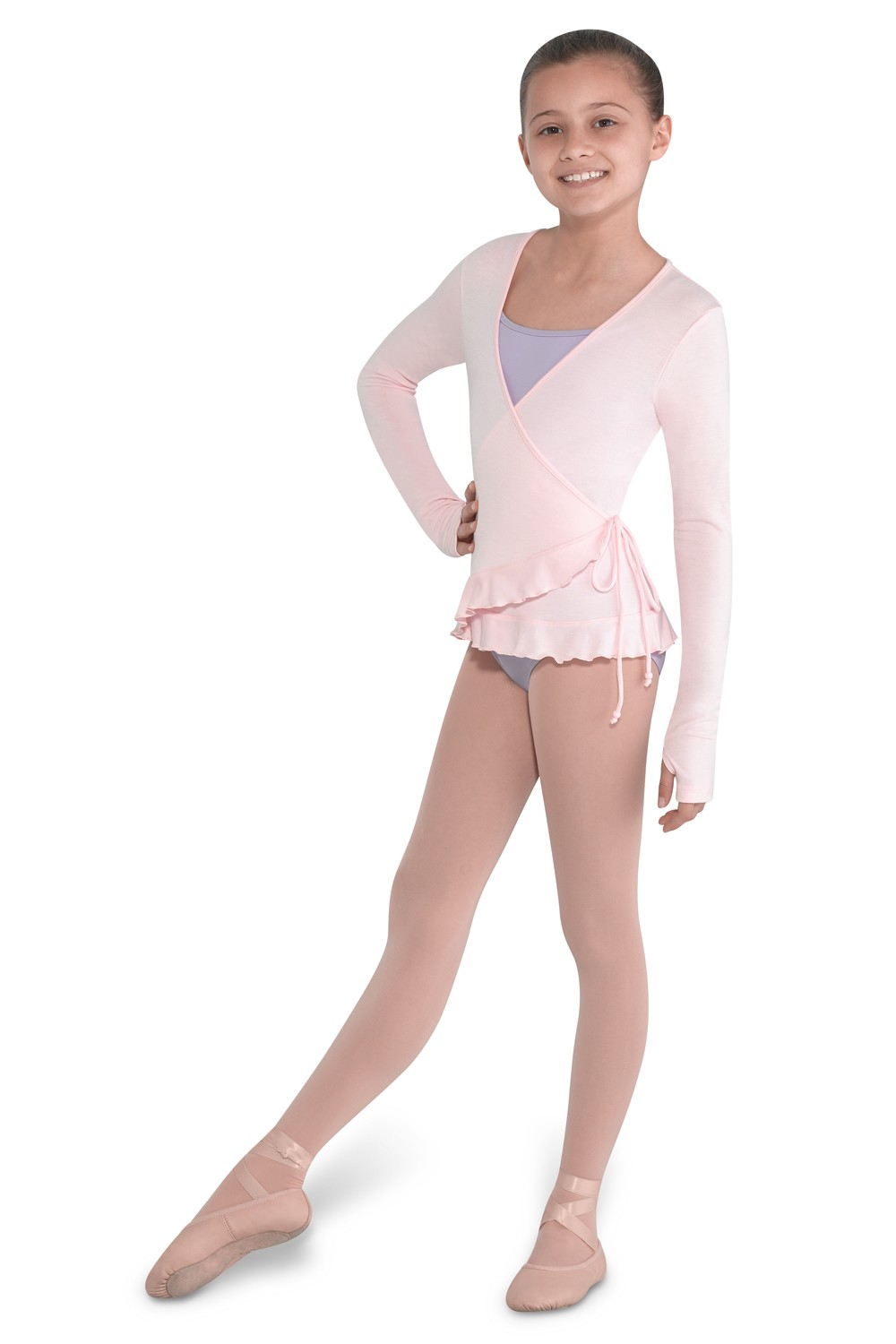Alivia Girls Soft Jersey Wrap Top Children's Dance Tops