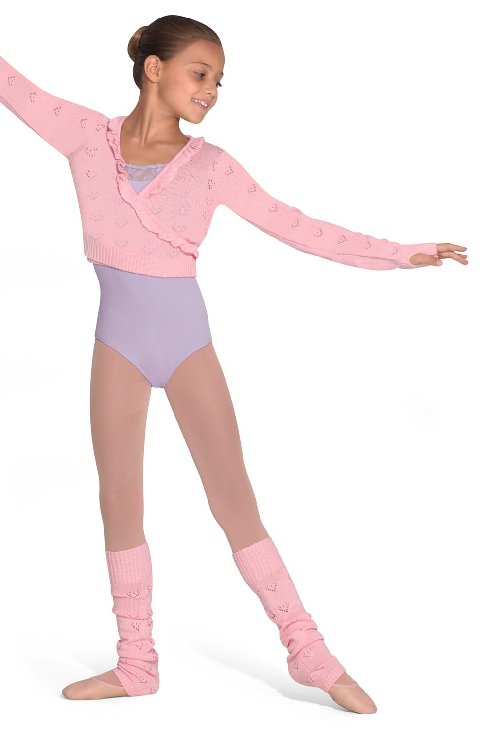 Allura Girls Pointelle Heart Knit Long Sleeve Wrap Children's Dance Tops