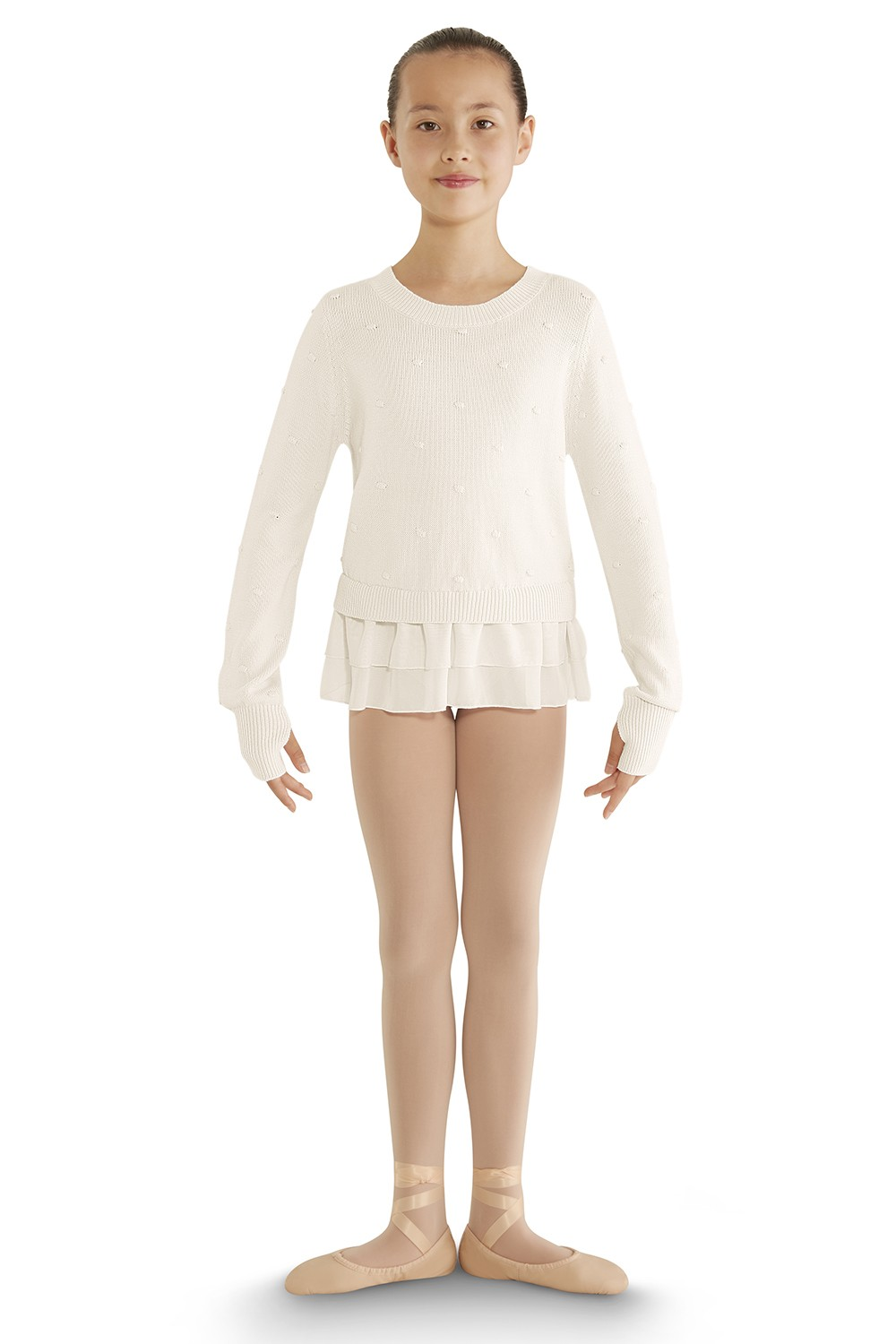 Bubble Knit Long Sleeve Sweater Children's Dance Tops