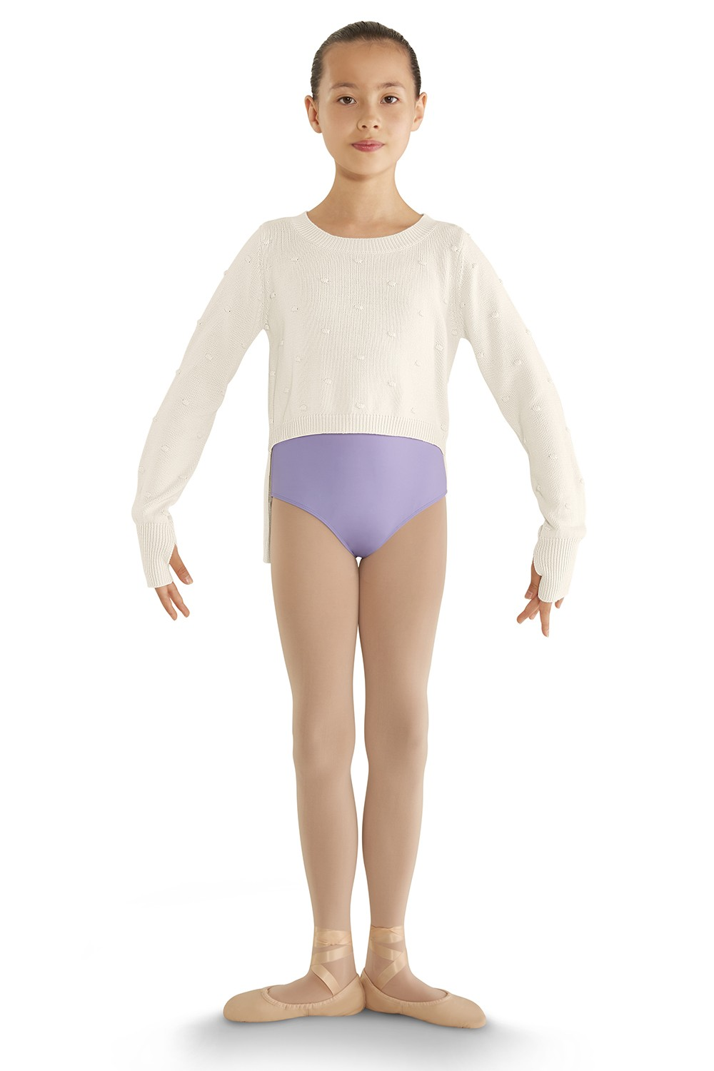 Hi-lo Long Sleeve Sweater Children's Dance Tops