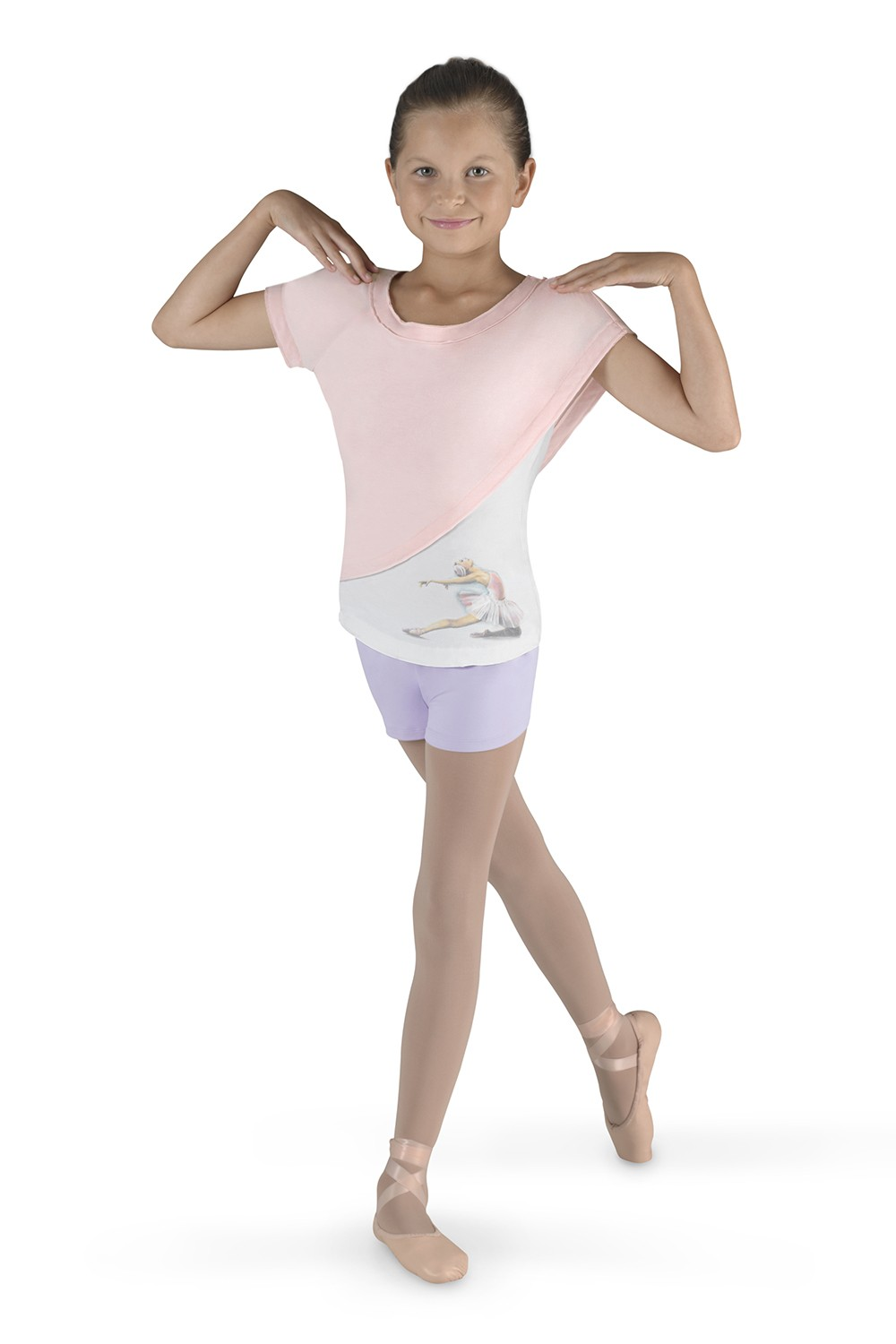 Draped Shoulder Tee Children's Dance Tops