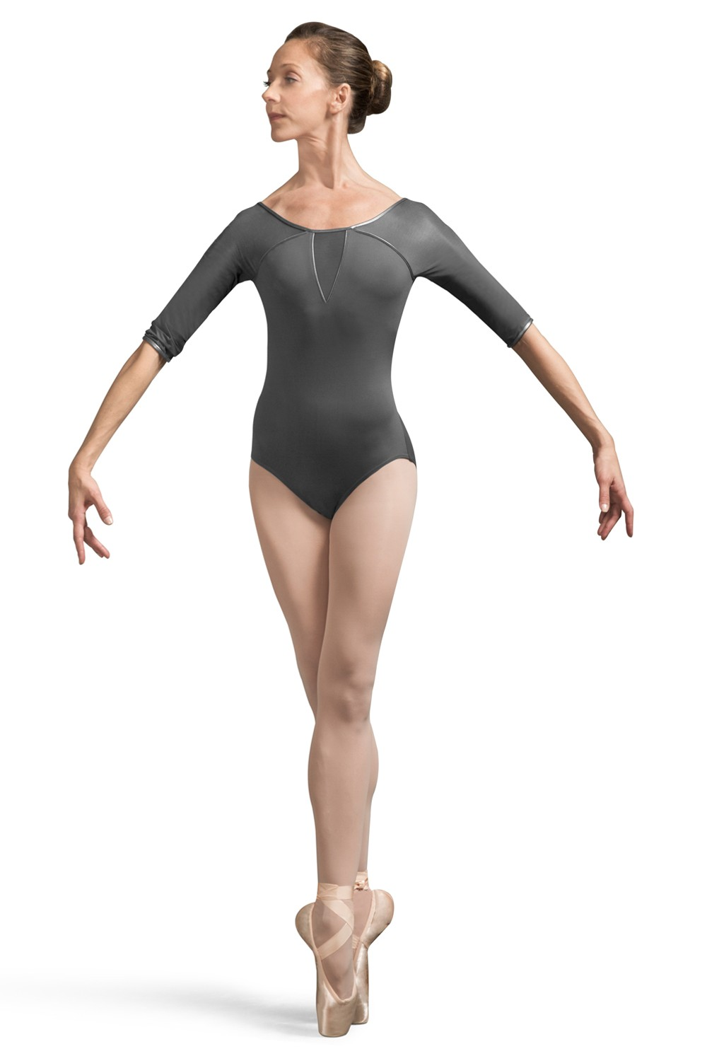 Ales Faux Leather 3/4 Sleeve Leotard Women's Dance Leotards