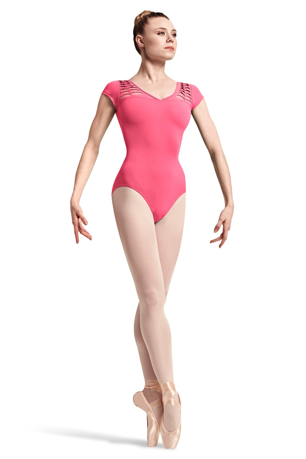 Rayna Spliced Front Shoulder Cap Sleeve Leotard Women's Dance Leotards