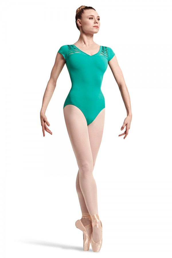 image - Rayna Spliced Front Shoulder Cap Sleeve Leotard Women's Dance Leotards