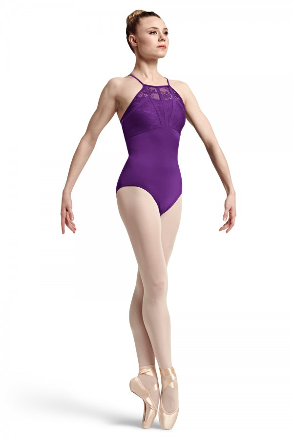 image - Akiba Lace And Ribbon High Front Neck Cross back C Women's Dance Leotards