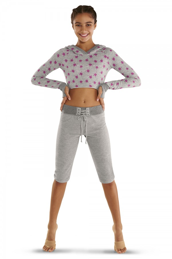 image - Printed hoodied crop sweat top Children's Tops