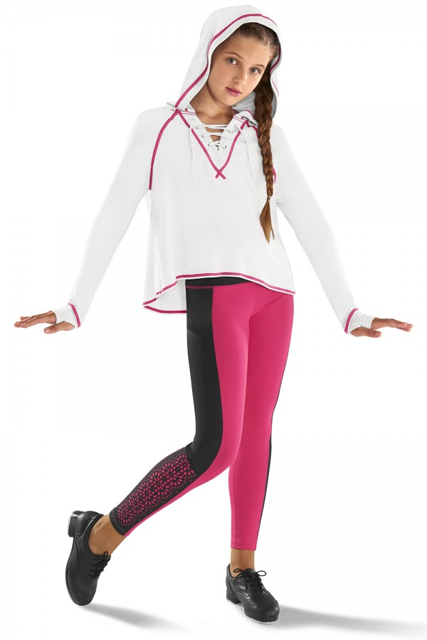 image - Lace up front hoodied top Children's Tops