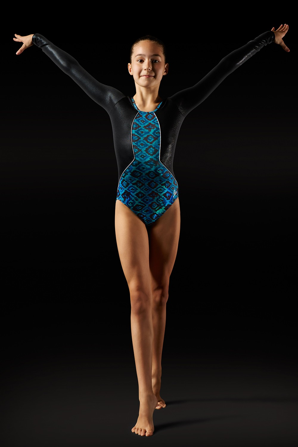 Body A Maniche Lunghe Con Stampa Azteca Women's Gymnastics Leotards