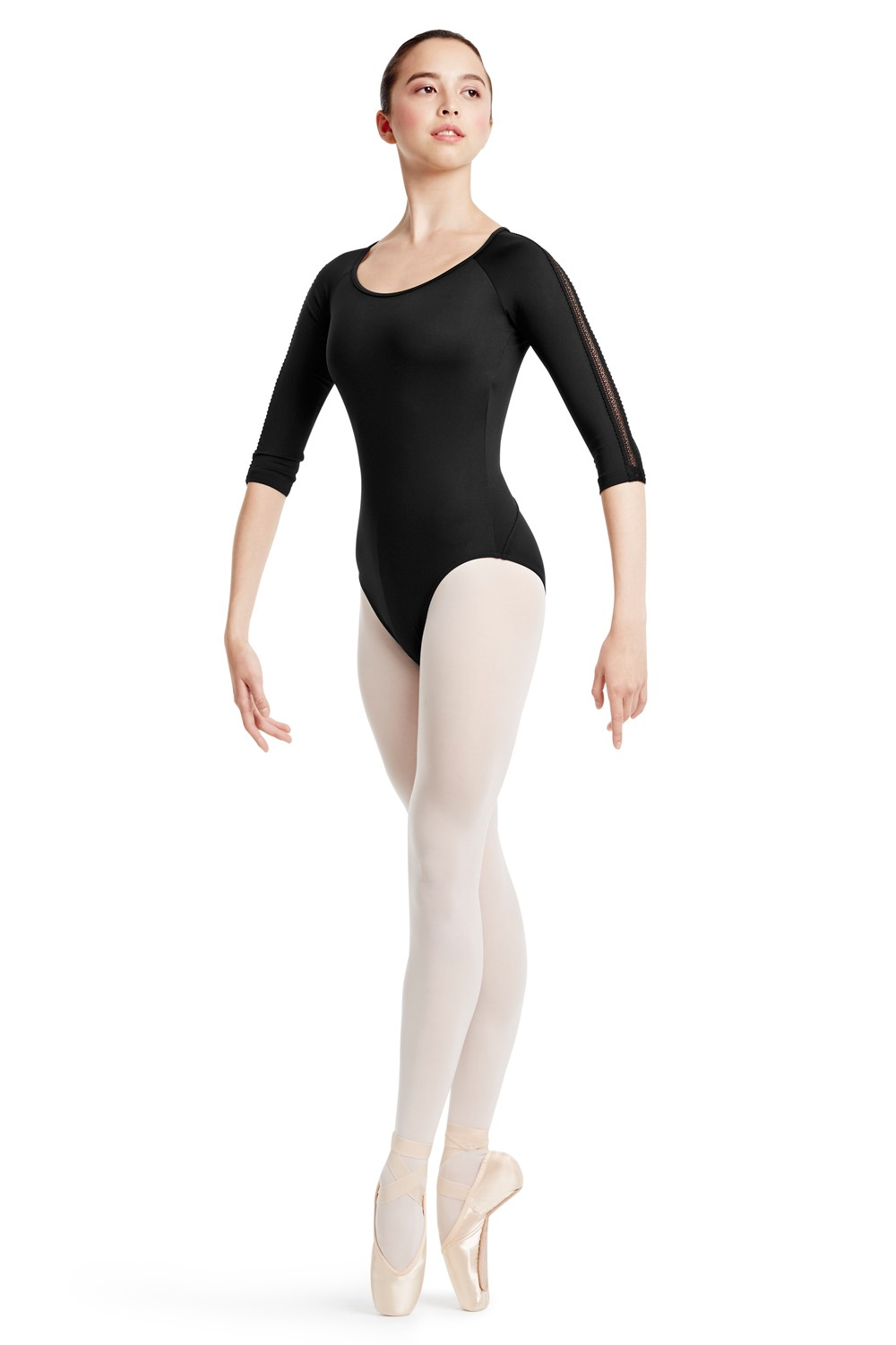 Lace Trim 3/4 Sleeve Women's Dance Leotards