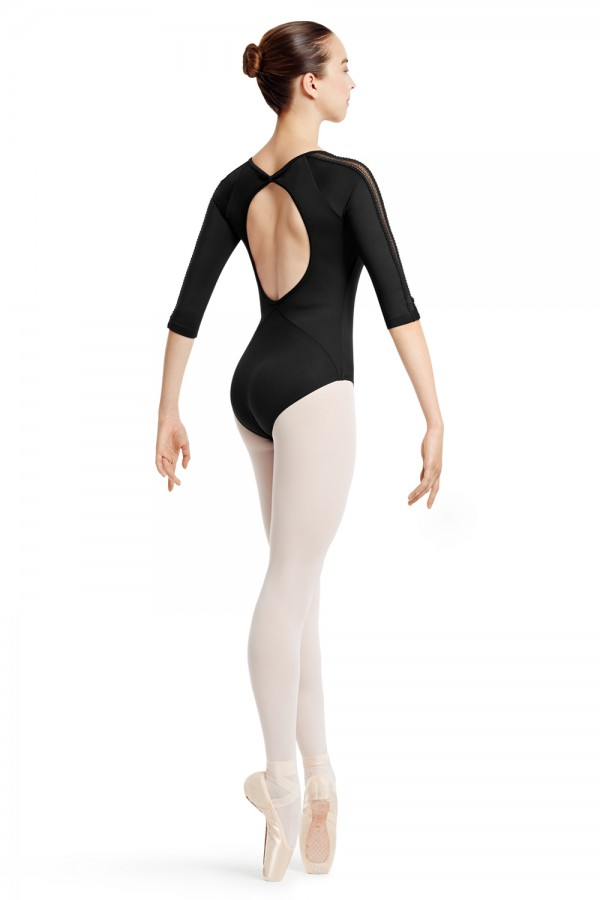 image - Lace Trim 3/4 Sleeve Women's Dance Leotards