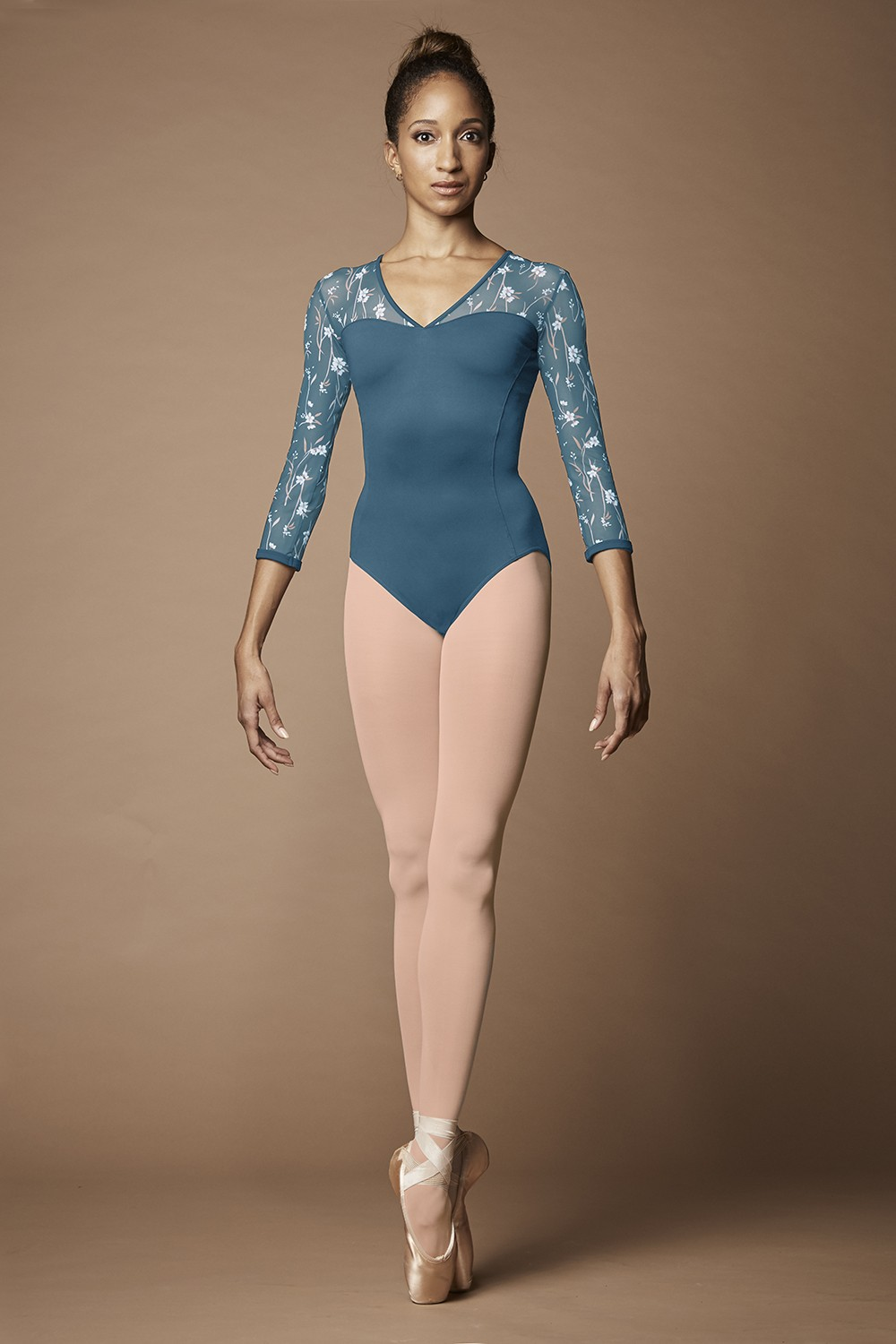Wild Bloom 3/4 Sleeve Leotard Womens Long Sleeve Leotards