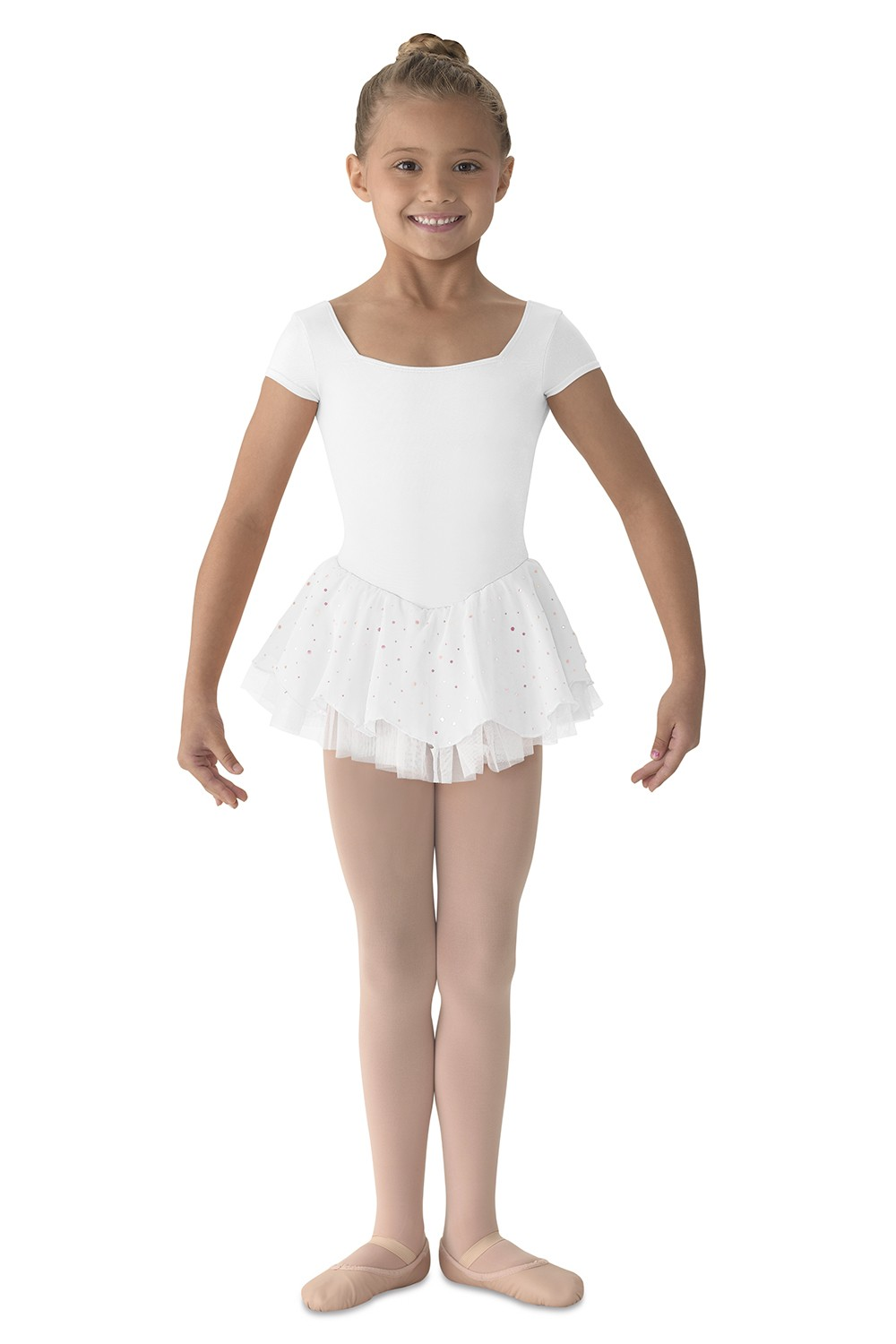 Cap Sleeve Iridescent Spot Dress Children's Dance Leotards
