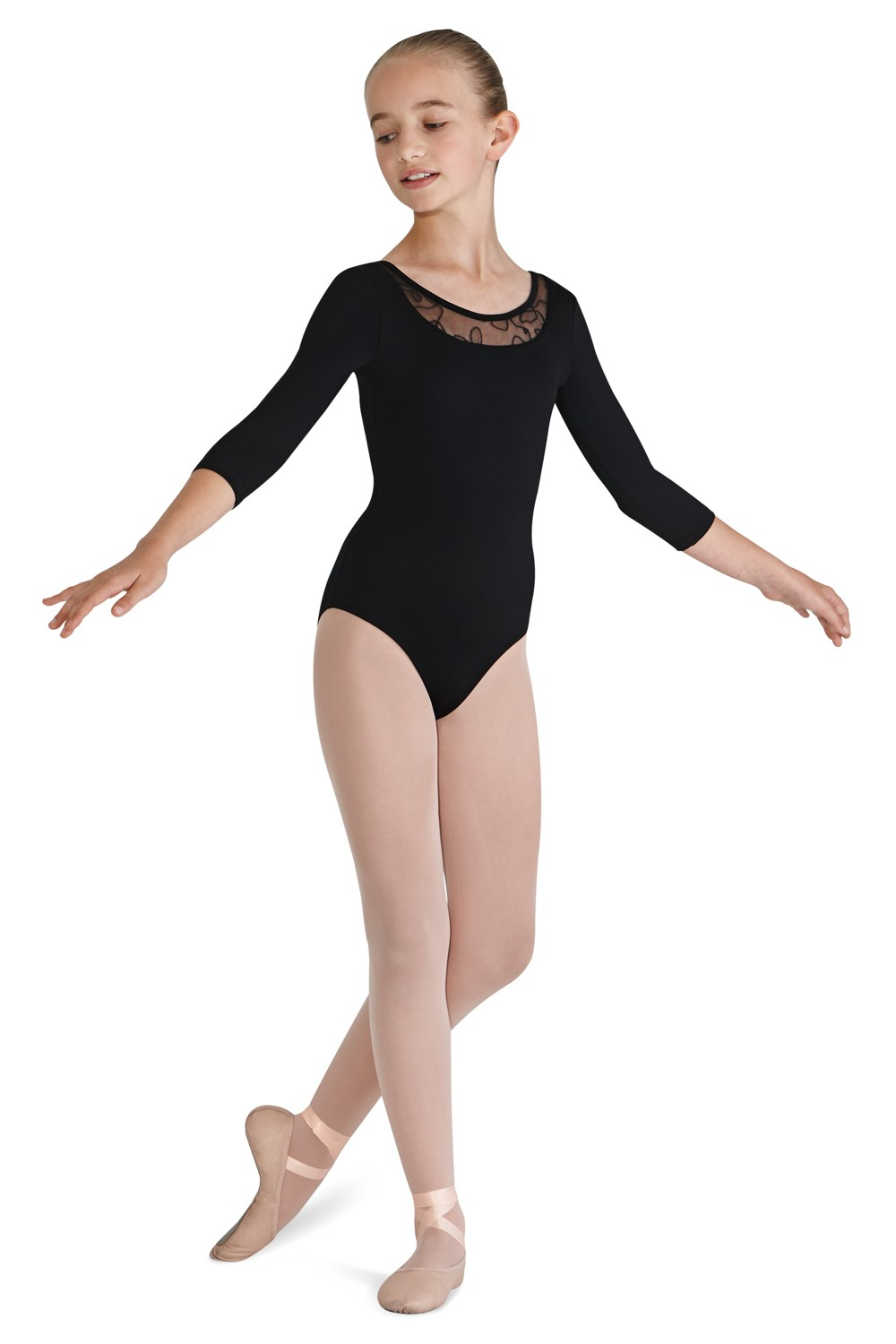 Yoked 3/4 Sleeve Leotard Children's Dance Leotards