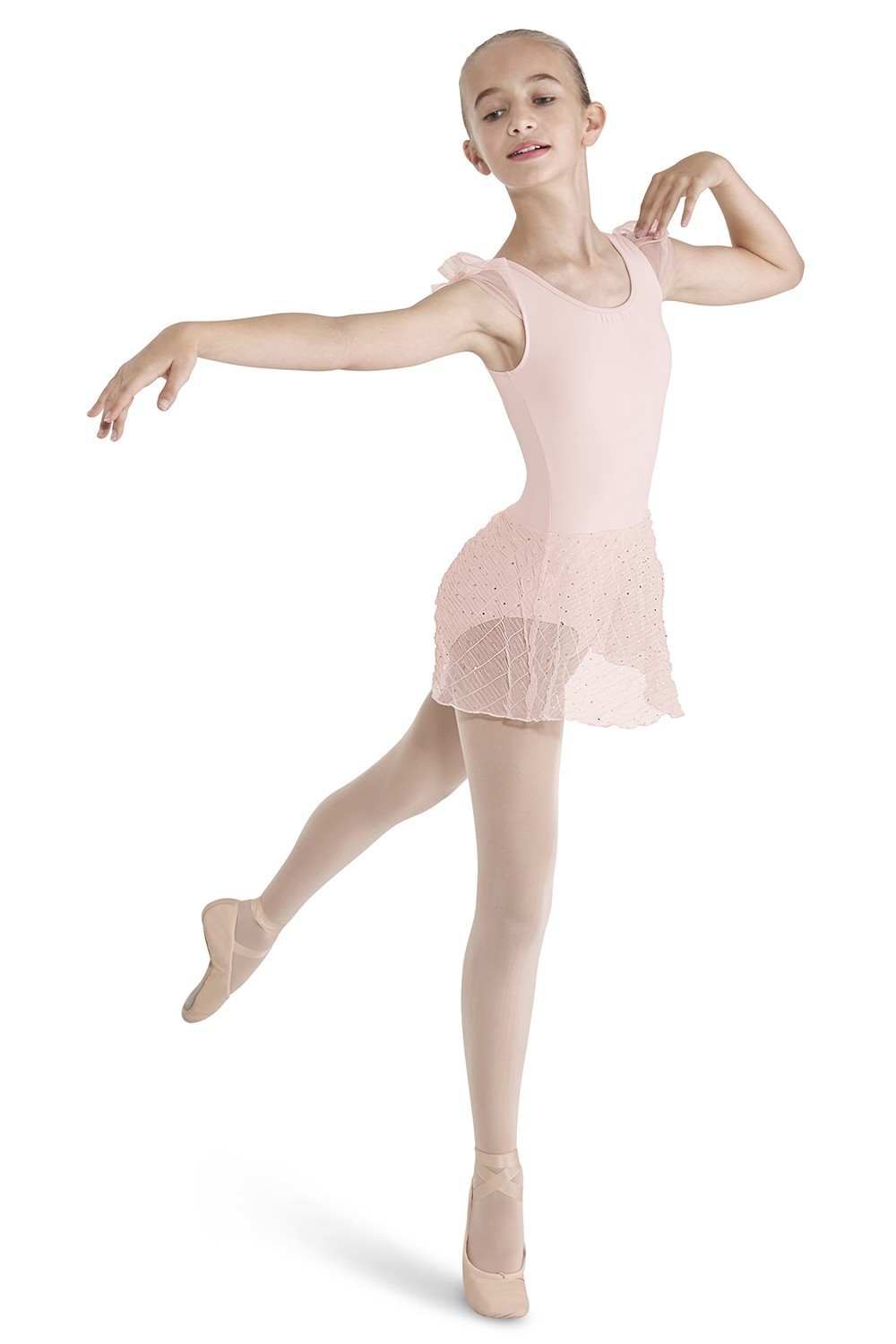 Crinkle Mesh Skirted Children's Dance Leotards
