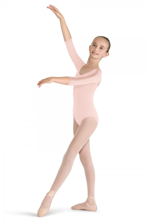 image - Lace Trim 3/4 Sleeve Children's Dance Leotards