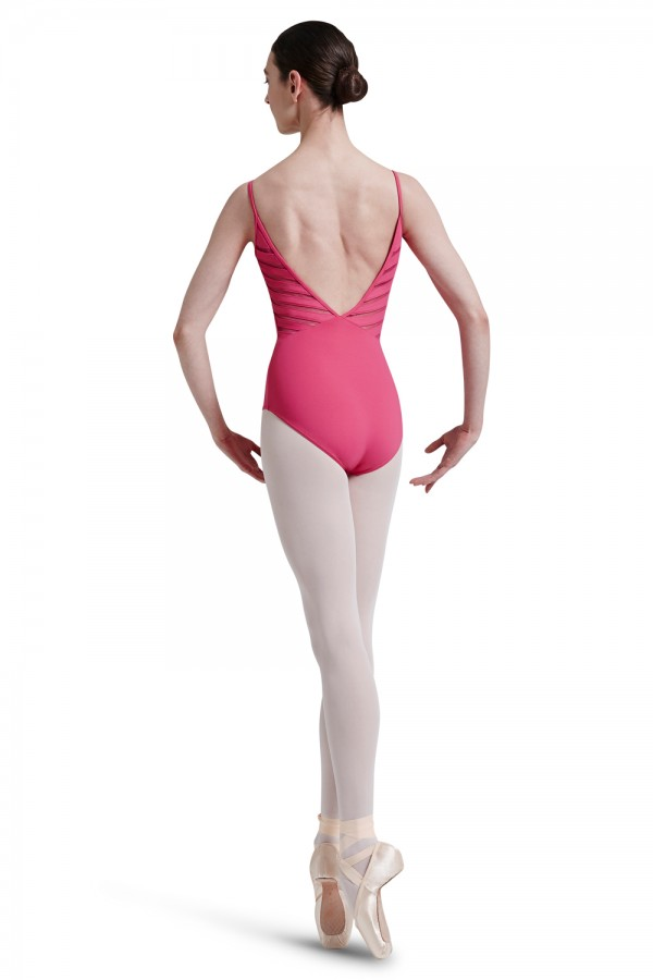 image - Mirella Lattice Elastic Trim Back Vee Panel Camiso Women's Dance Leotards