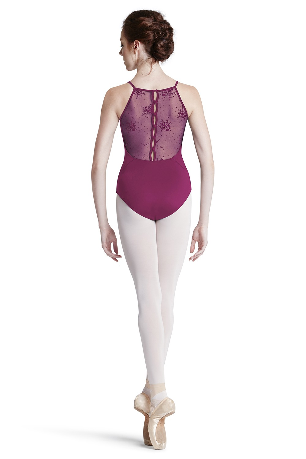 Floral Flock Mesh Back Camisole Leotard Women's Dance Leotards