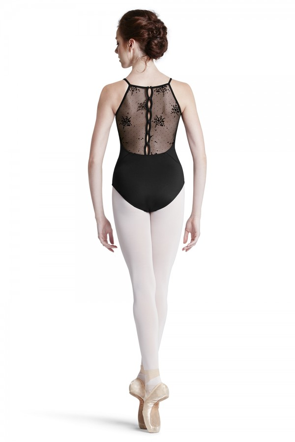 image - Floral Flock Mesh Back Camisole Leotard Women's Dance Leotards