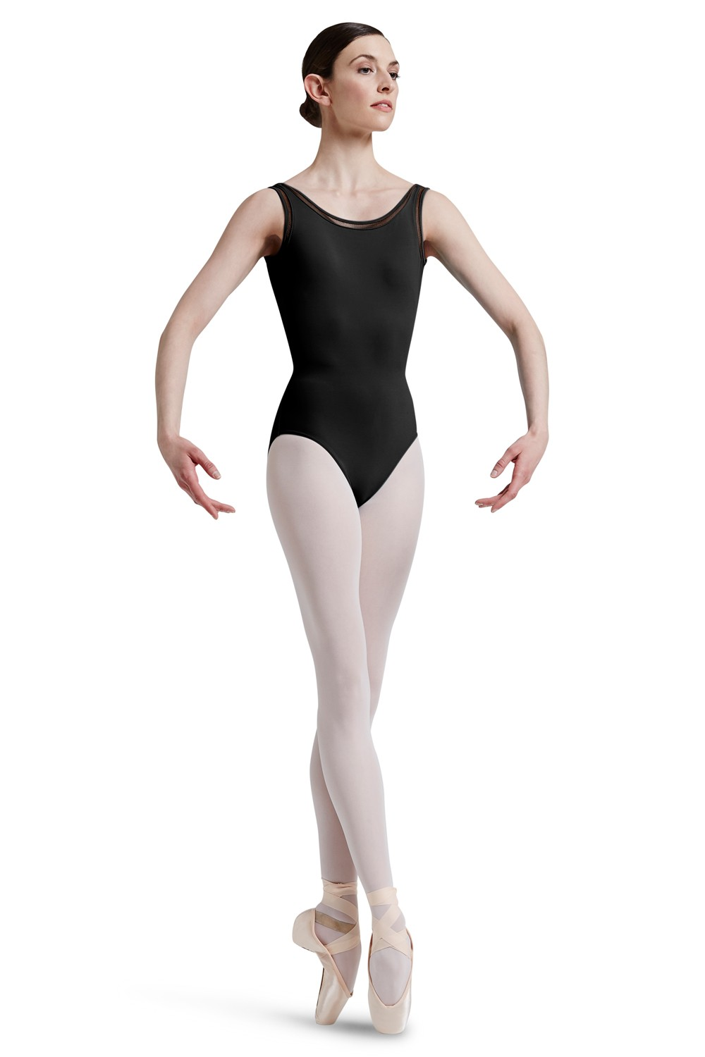 Mirella Lattice Elastic Deep Vee Back Tank Leotard Women's Dance Leotards