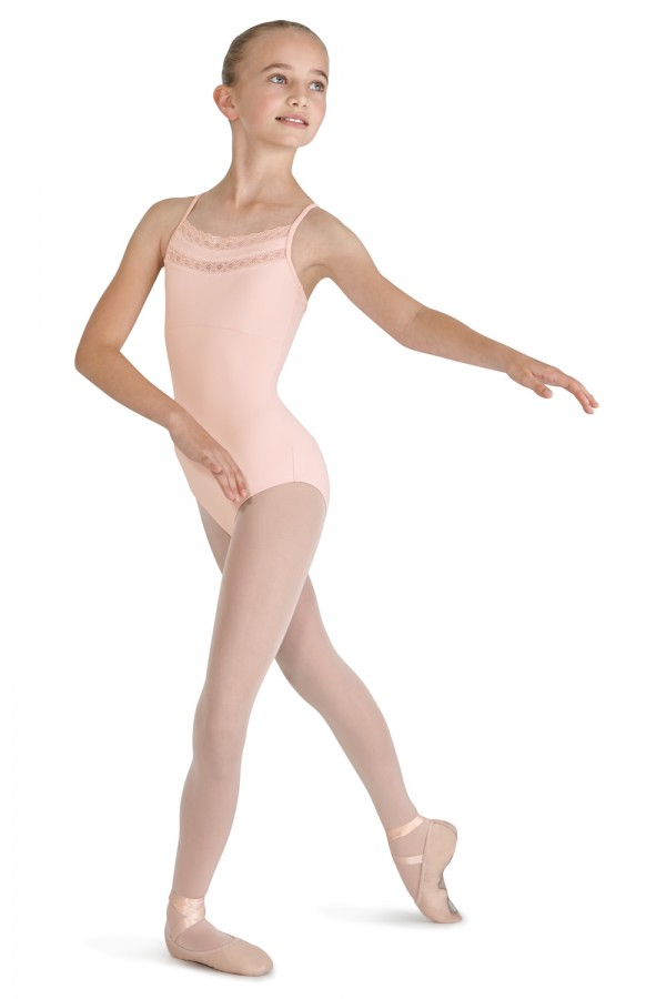 image - Lace Trim X Back Camisole Children's Dance Leotards