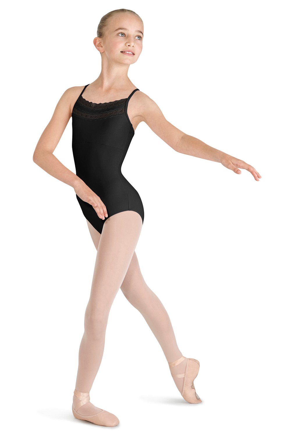 Lace Trim X Back Camisole Children's Dance Leotards