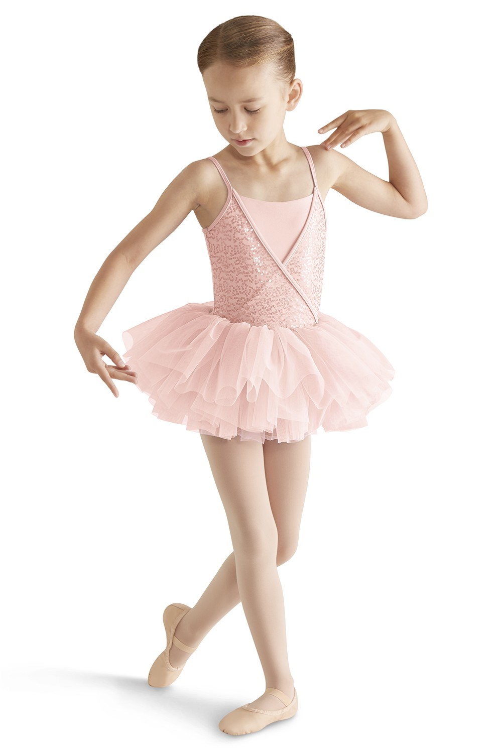 Sequin Mock Wrap Camisole Tutu Children's Dance Leotards
