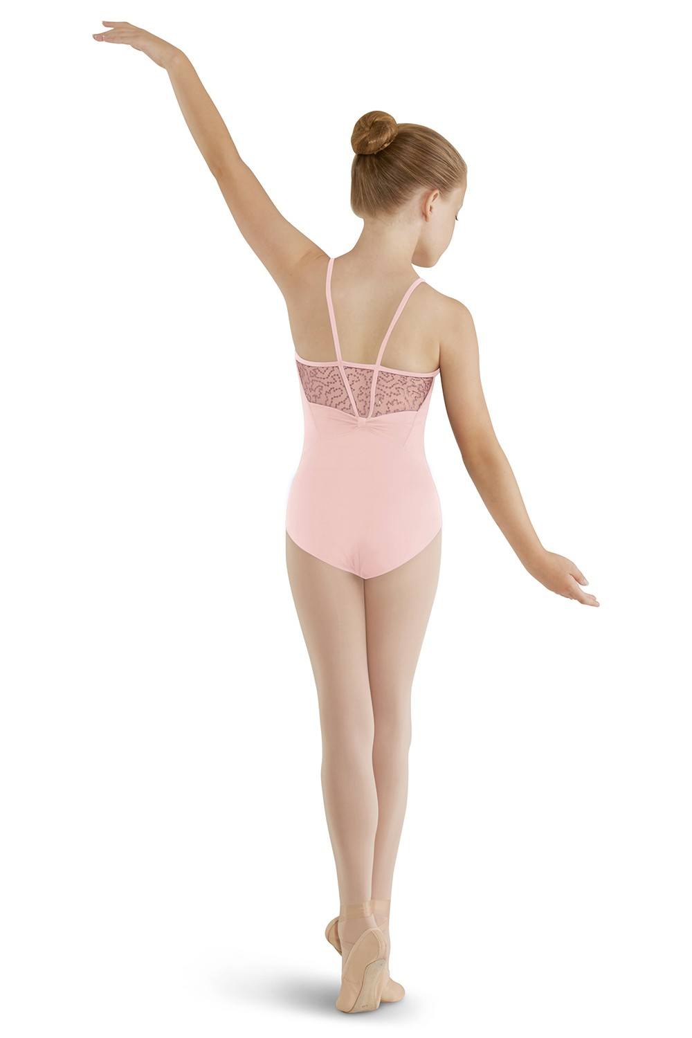 High Neck Sequin Tulle Camisole Children's Dance Leotards