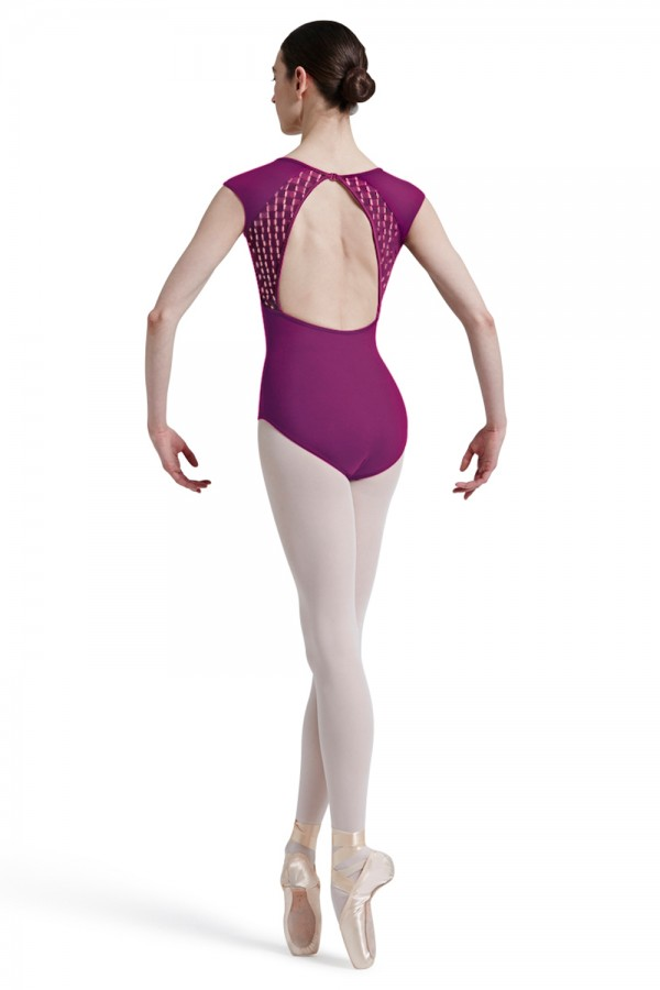 image - Mirella Square French Lace Panelled Back Cap Sleev Women's Dance Leotards
