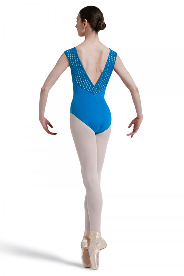 image - Mirella Square French Lace Deep Vee Back Cap Sleev Women's Dance Leotards