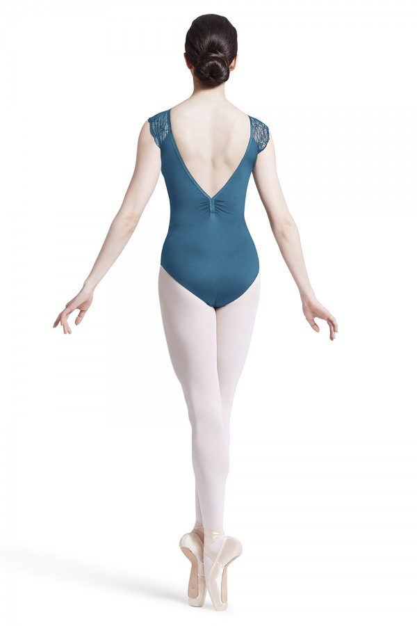 image - Lace shoulder low back leotard Women's Dance Leotards