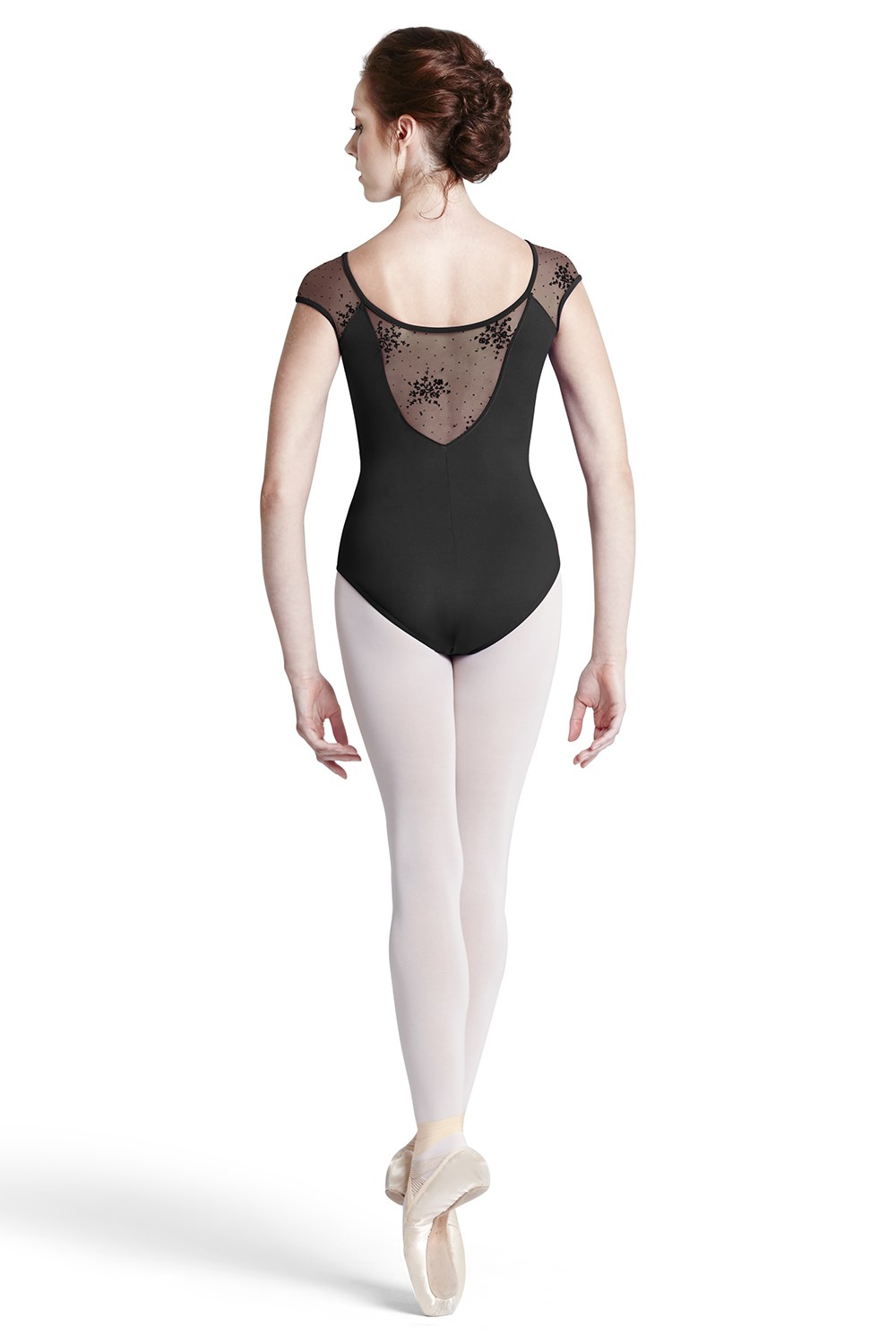 Body Con Maniche Ad Aletta In Rete Con Motivi Floreali Floccati Women's Dance Leotards