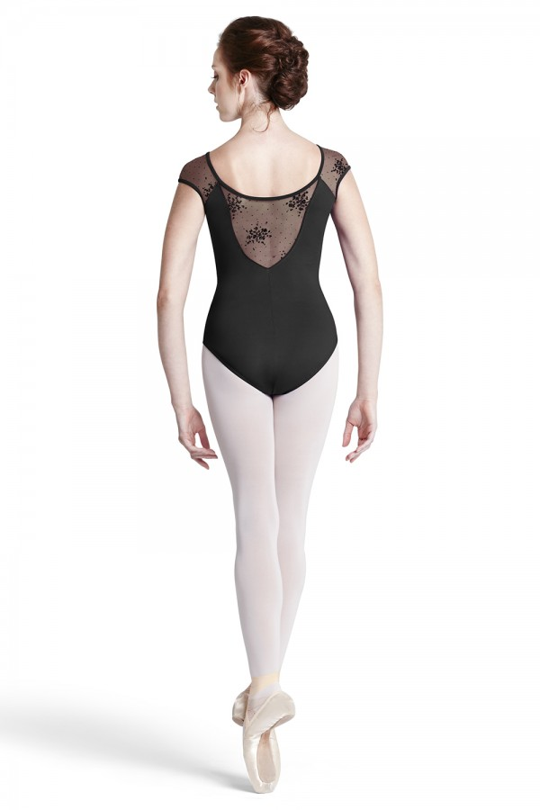image - Flock Mesh Cap Sleeve Women's Dance Leotards