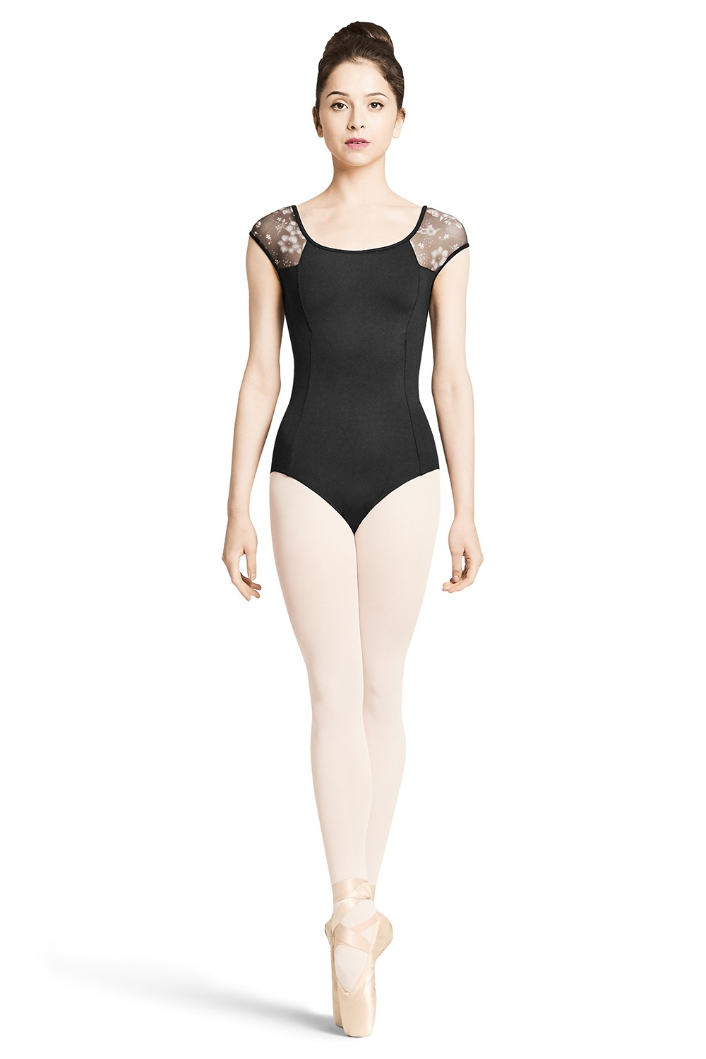 Floral Mesh Cap Sleeve Women's Dance Leotards