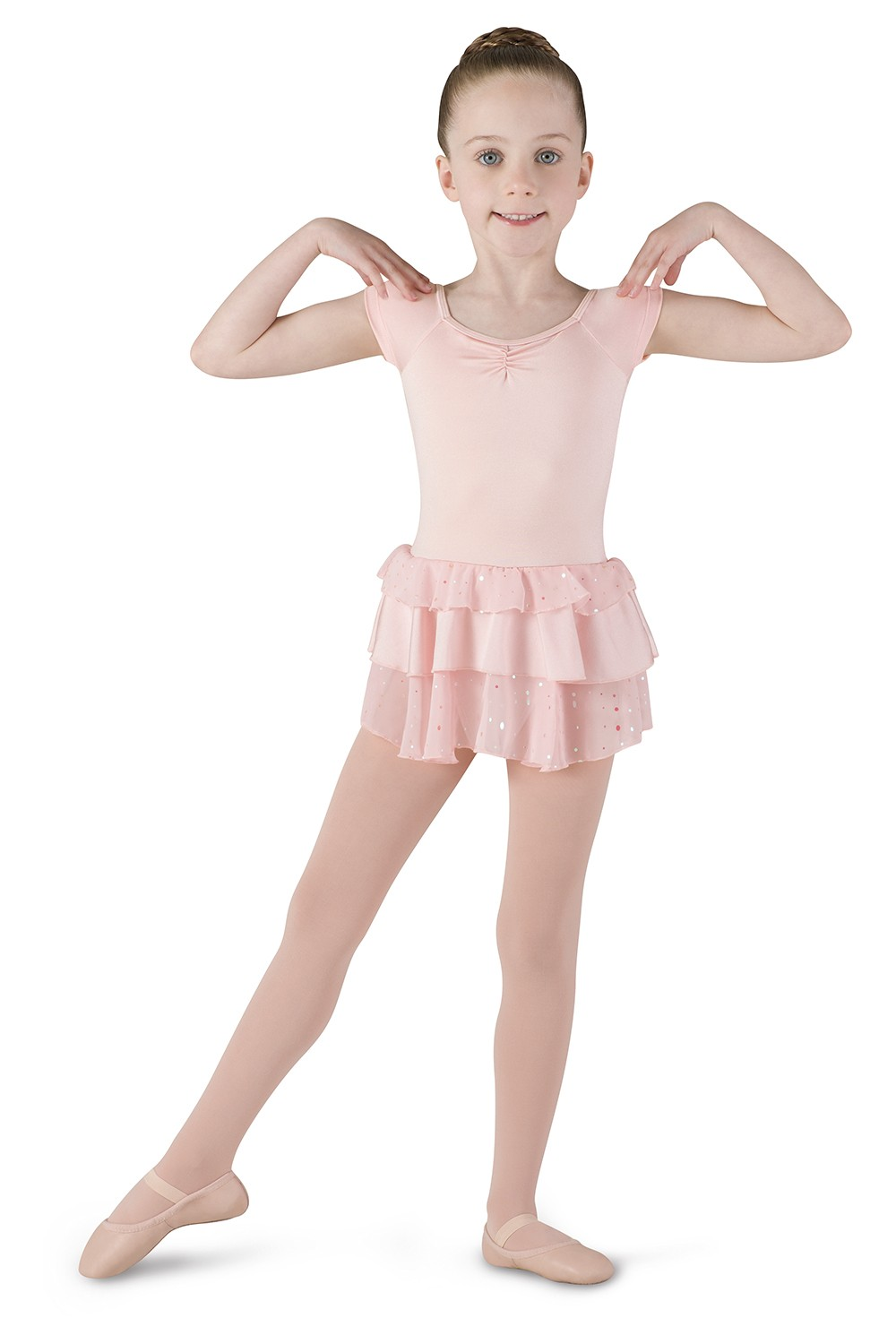Cap Sleeve Layered Dress Children's Dance Leotards