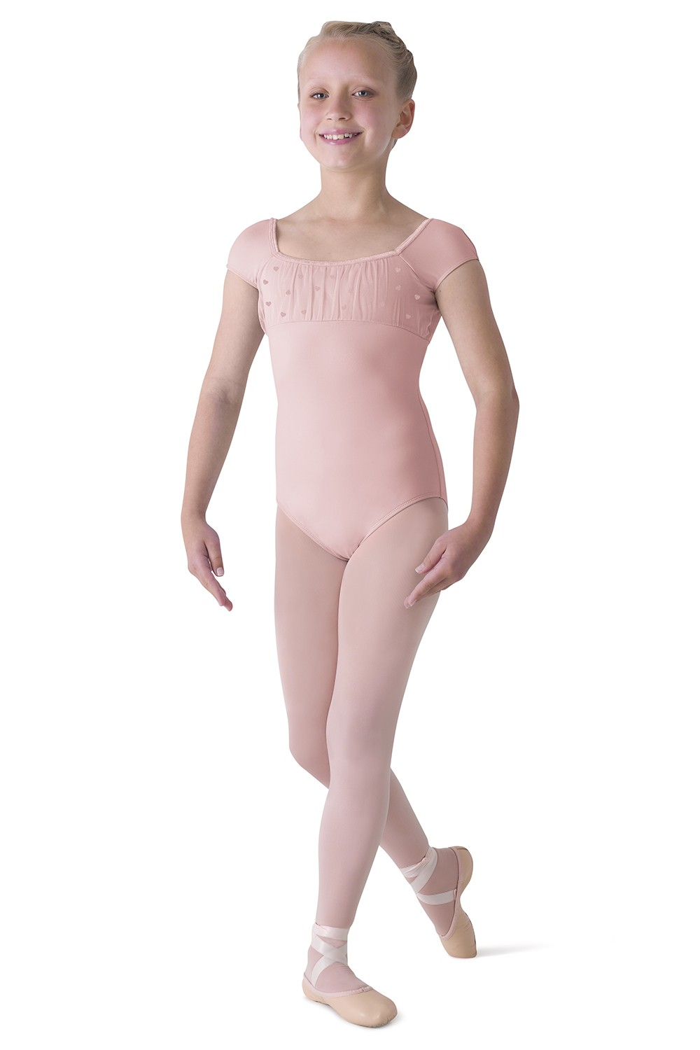 Front Heart Detail Cap Sleeve Leo Children's Dance Leotards