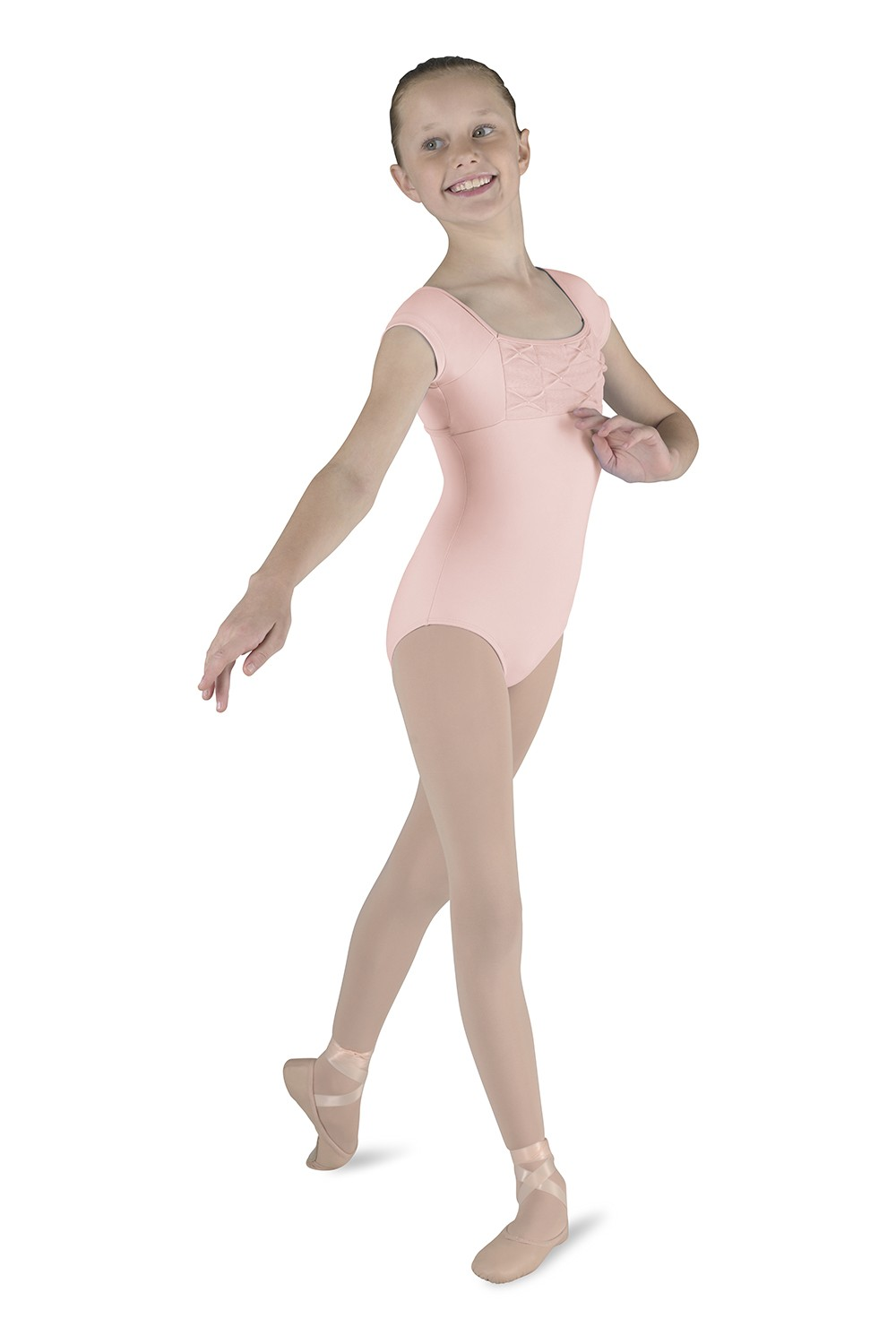 Pinch Pleat Cap Sleeve Children's Dance Leotards