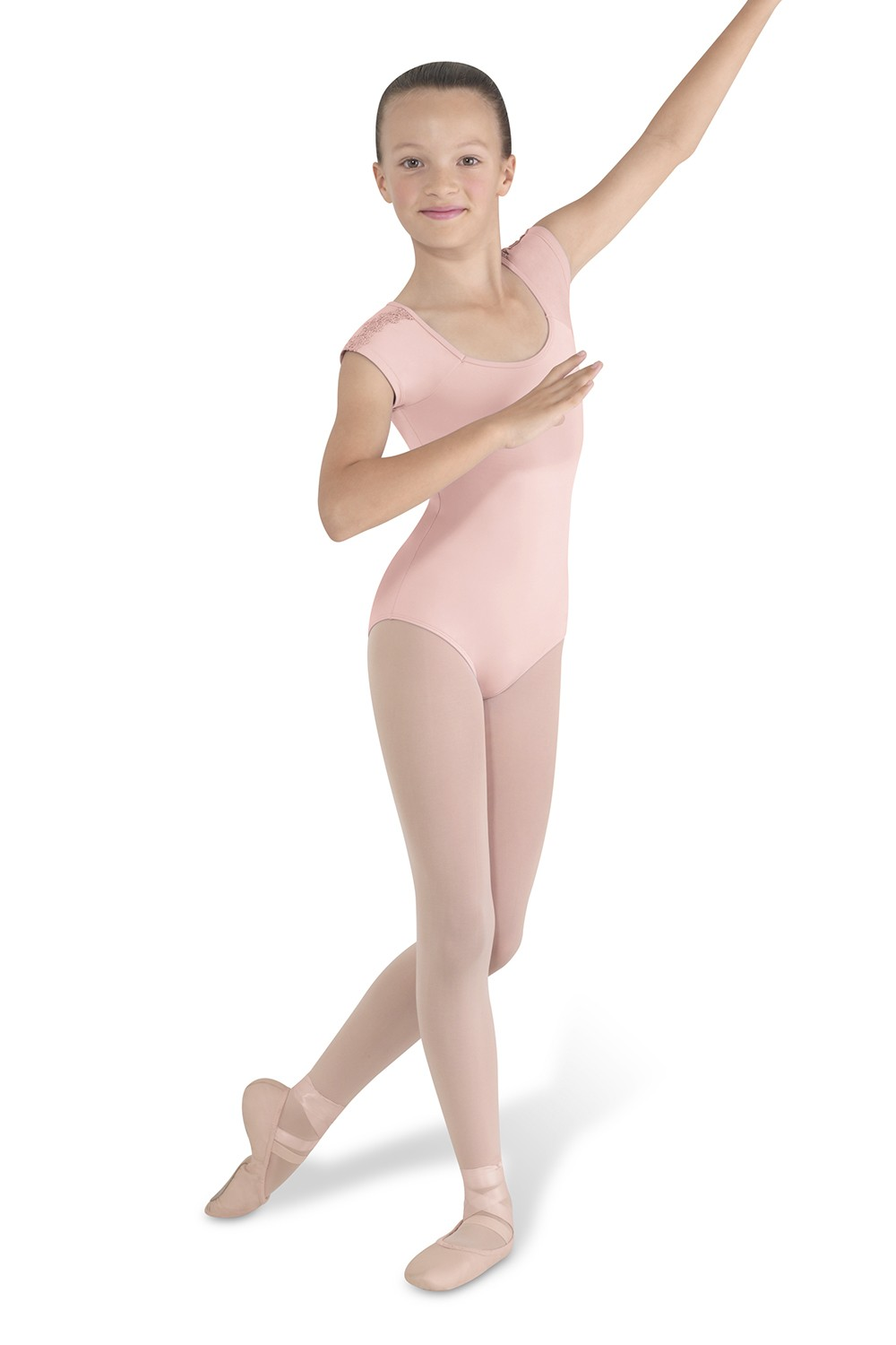 Lace Trim Cap Sleeve Children's Dance Leotards