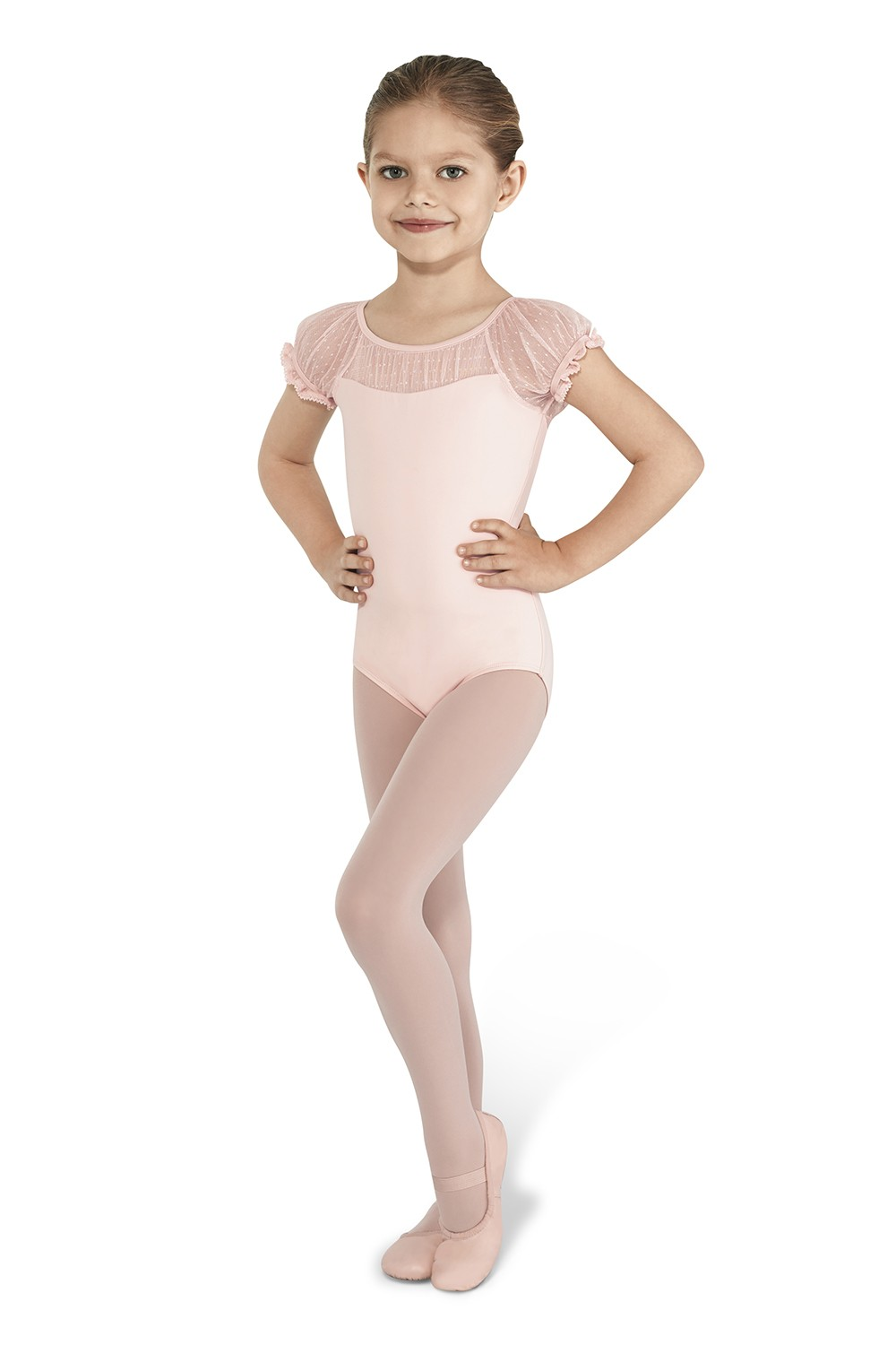 Spot Tulle Puff Sleeve Children's Dance Leotards