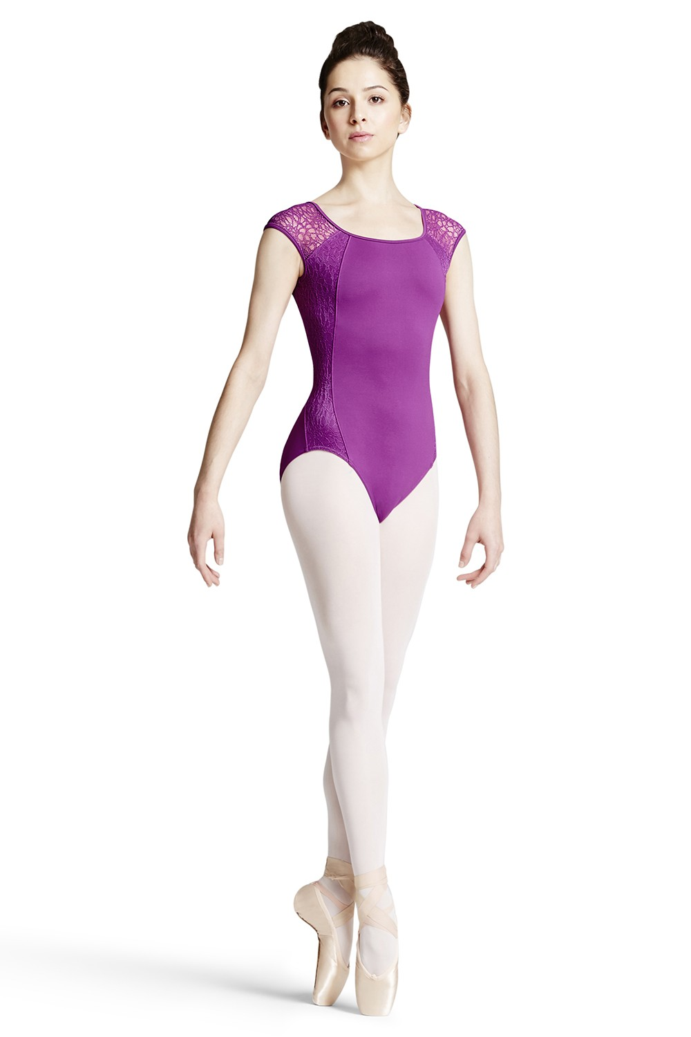 Lace Panel Cap Sleeve Leotard Women's Dance Leotards