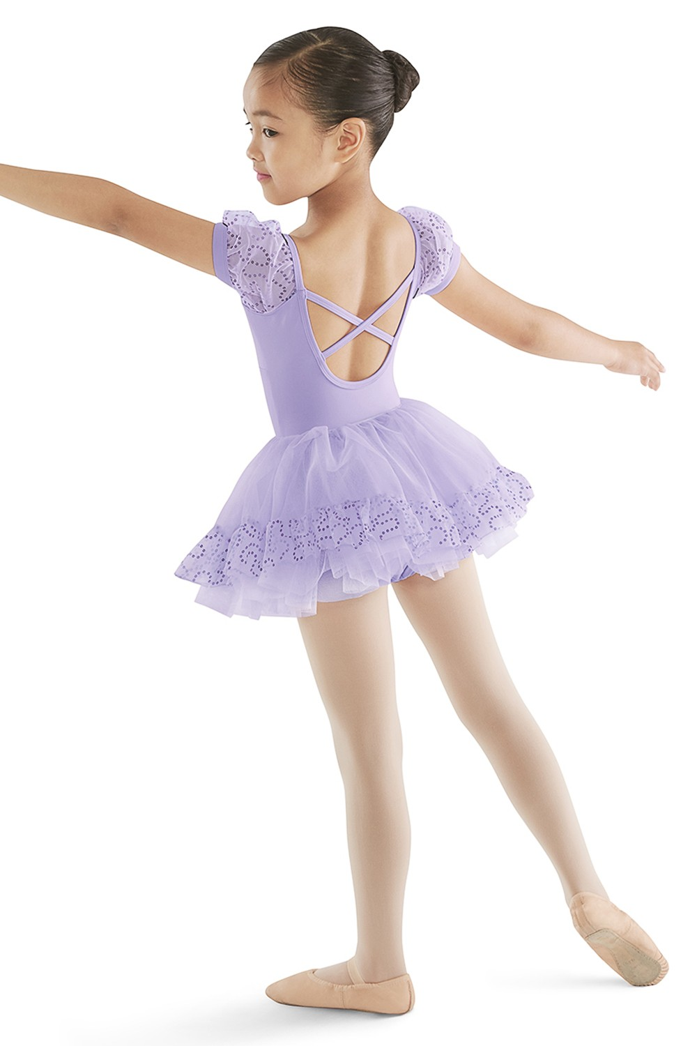 Puff Sleeve X Back Leo Children's Dance Leotards