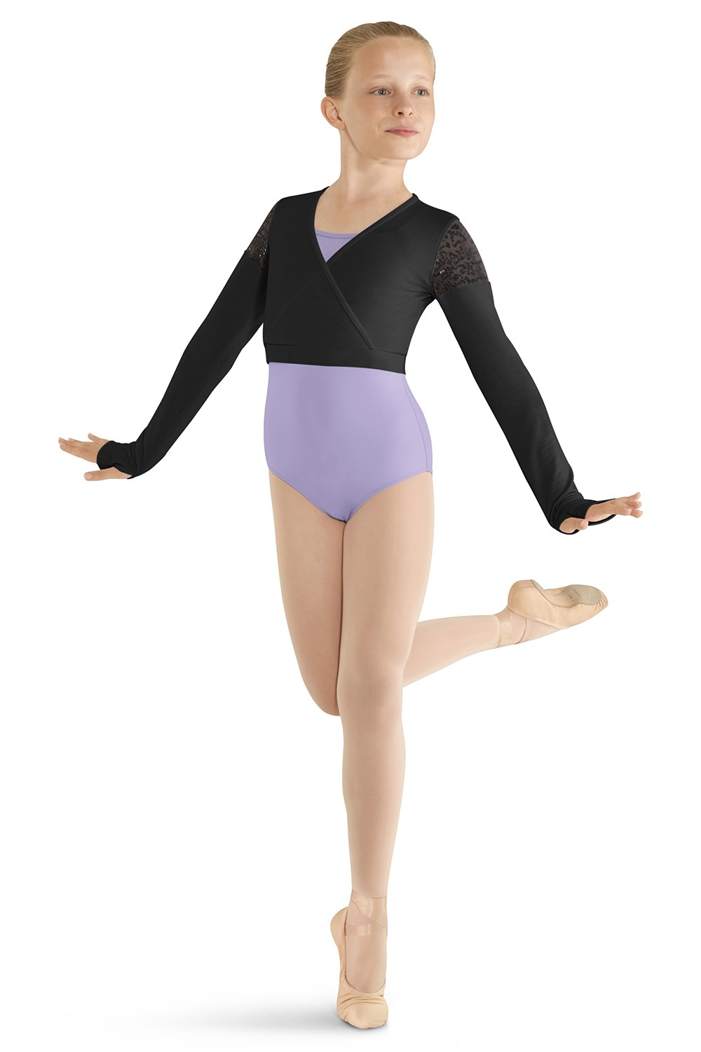 Long Sleeve Mock Wrap Top Children's Dance Tops
