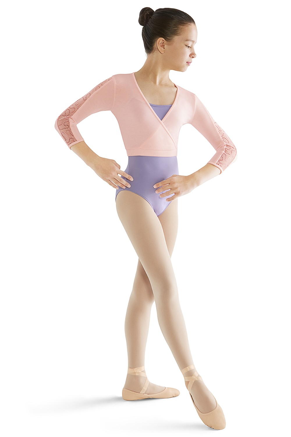 3/4 Sleeve Mock Wrap Top Children's Dance Tops