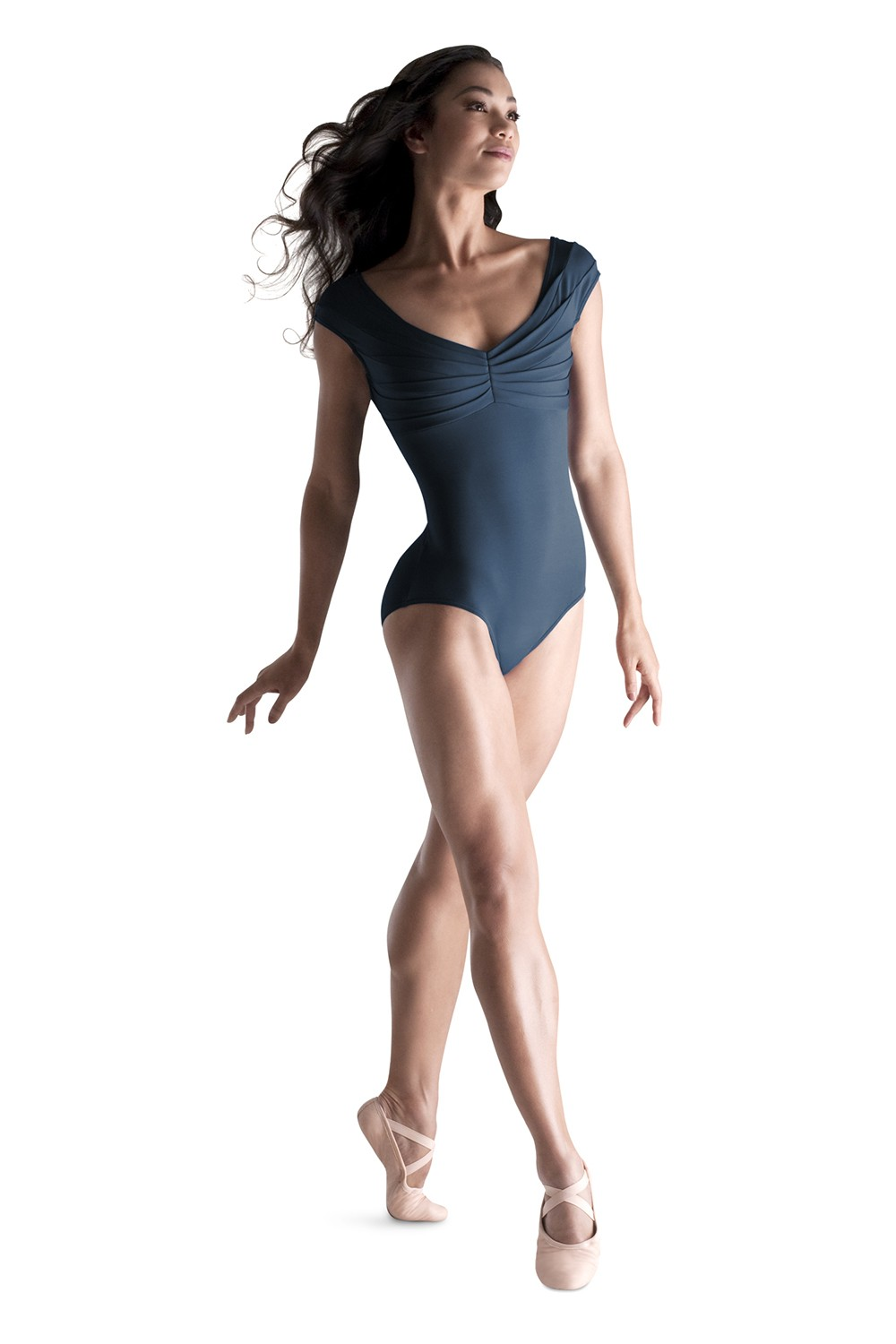 Pleated Top Cap Sleeve Women's Dance Leotards
