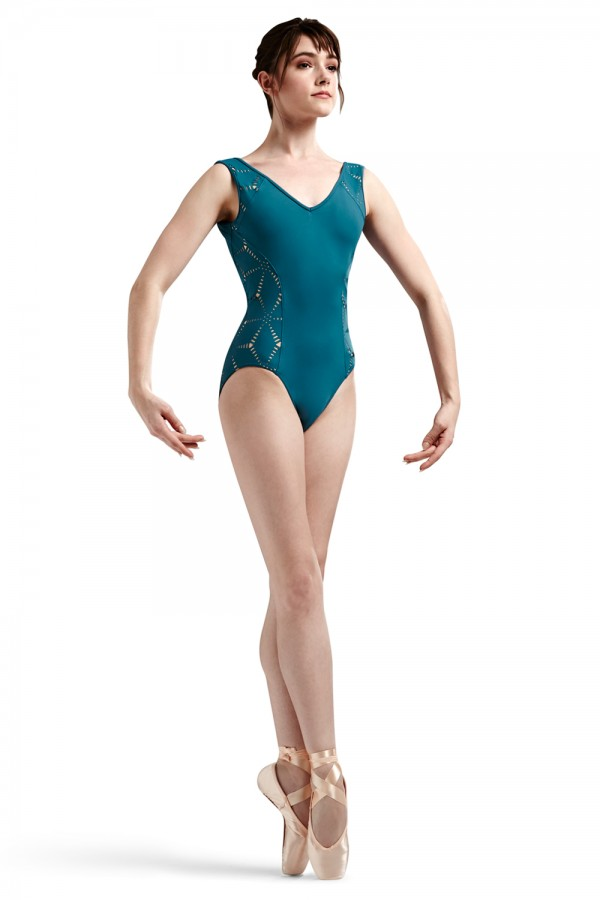 image - JFM Origami Laser Cutout Side And Shoulder Panel T Women's Dance Leotards